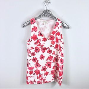 Kenar White and Pink Floral Tank Red Flowers SM